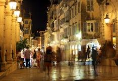 Liston, Main Promenade At Night, Corfu City Royalty Free Stock Photo