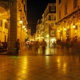 Liston, main promenade, at night, Corfu city, Greece Royalty Free Stock Photo