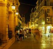 Liston, main promenade, at night, Corfu city, Greece Stock Images