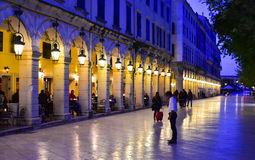 Liston Promenade in Corfu Town. Kerkyra by night. Stock Photo