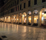Liston street at night on Corfu Royalty Free Stock Photo