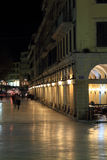 Liston street at night on Corfu Royalty Free Stock Photography