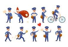 Listonoszy charaktery z torbami na roweru secie i ilustracja wektor