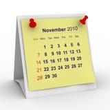 Listopad 2010 kalendarzowych rok Fotografia Royalty Free