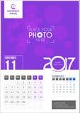 Listopad 2017 Kalendarz 2017 Zdjęcia Stock