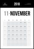 Listopad 2018 Minimalistyczny Ścienny kalendarz Obrazy Royalty Free