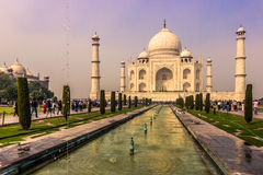 Listopad 02, 2014: Panoramiczny widok ogródy Taj Maha Zdjęcie Stock