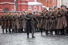 LISTOPAD 05, 2016: Sukni próba parada, oddana Listopad 7, 1941 na placu czerwonym w Moskwa Obraz Royalty Free