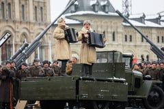 LISTOPAD 05, 2016: Sukni próba parada, oddana Listopad 7, 1941 na placu czerwonym w Moskwa Obrazy Stock