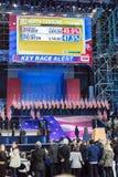 LISTOPAD 8, 2016, wybory noc przy Jacob K Javits Ześrodkowywa - miejsce wydarzenia dla Demokratycznego prezydenckiego kandydat Hi Obrazy Stock