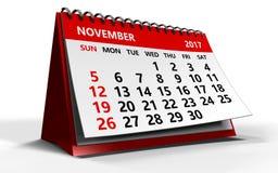 Listopadu 2017 kalendarz Zdjęcia Stock