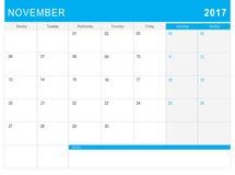 2017 Listopadu kalendarz & x28; lub biurka planner& x29; z notatkami Fotografia Stock