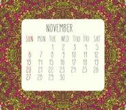 Listopadu 2016 miesięcznika kalendarz Zdjęcia Stock