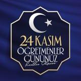 Listopadu 24th Tureccy nauczyciele dni, billboarda projekt Turecczyzna: Listopad 24, Szczęśliwy nauczyciela dzień TR: 24 Kasim Og ilustracja wektor