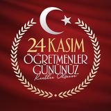 Listopadu 24th Tureccy nauczyciele dni, billboarda projekt Turecczyzna: Listopad 24, Szczęśliwy nauczyciela dzień TR: 24 Kasim Og royalty ilustracja