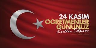 Listopadu 24th Tureccy nauczyciele dni, billboarda projekt Turecczyzna: Listopad 24, Szczęśliwy nauczyciela dzień TR: 24 Kasim Og ilustracji