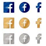 Listowa F ikona Ogólnospołeczna medialna ikona Facebook ikona ilustracja wektor