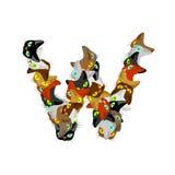 Listowa W kota chrzcielnica Zwierzęcia domowego abecadła symbol domowy zwierzęcy ABC podpisuje Zdjęcie Stock
