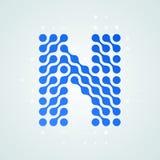 Listowego N loga halftone nowożytna ikona Wektorowej płaskiej listowego N kropki linii szyldowej futurystycznej błękitnej ciekłej royalty ilustracja