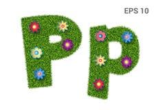 Listowi Pp z teksturą trawa i kwiaty royalty ilustracja