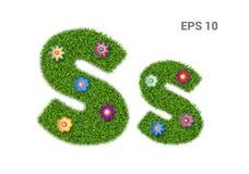 Listowi Ss z teksturą trawa i kwiaty ilustracji