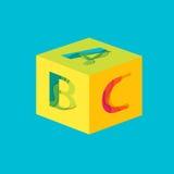 Listowy ABC sześcianu szablon Zdjęcia Stock