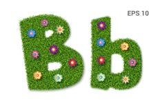 Listowy Bb z teksturą trawa i kwiaty royalty ilustracja