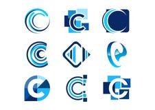 Listowy c logo, pojęcie elementów firmy abstrakcjonistyczni logowie, set abstrakcjonistycznej logo kolekcj symbolu biznesowej iko Obrazy Royalty Free
