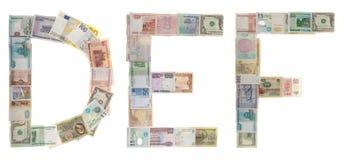 listowy D pieniądze e f Fotografia Stock