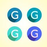 Listowy G logo P?aski logo projekt dla tw?j firmy royalty ilustracja