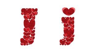 Listowy J robić od serc abecadło Fotografia Royalty Free