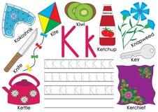 Listowy K abecadło anglicy marzną lekkich fotografii obrazki bierze technologię używać był Writing praktyka ilustracja wektor