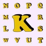 listowy K, abecadło, 3D ikona 3D formułuje ikony ogólnoludzkiego ustawiającego dla sieci i wiszącej ozdoby ilustracja wektor