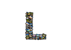 Listowy L uppercase chrzcielnica kształta abecadła kolaż Fotografia Stock