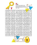 Listowy labirynt K Ten worksheet pomaga dzieciaków rozpoznawać Obrazy Royalty Free