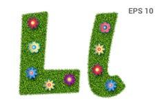 Listowy Ll z teksturą trawa i kwiaty royalty ilustracja