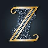 Listowy logo Z wektor ABC Kolekcja wektorowi listy Złoty abecadło na ciemnym tle Pełen wdzięku heraldyczny symbol royalty ilustracja