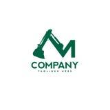 Listowy M ekskawatorów budowy maszynerii logo ilustracja wektor