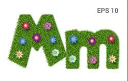 Listowy Mm z teksturą trawa i kwiaty ilustracji