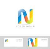Listowy N barwiony logo ilustracja wektor