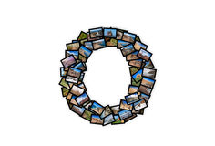 Listowy O chrzcielnicy kształta abecadła uppercase kolaż Obrazy Royalty Free