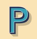 Listowy P teksta Retro Wektorowy styl, chrzcielnicy pojęcie Zdjęcia Royalty Free