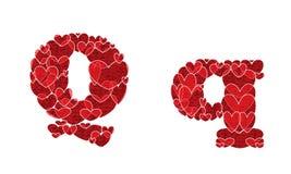 Listowy Q robić od serc abecadło Obraz Stock