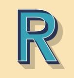 Listowy R Retro Wektorowego teksta stylu, chrzcielnicy pojęcie Obraz Royalty Free