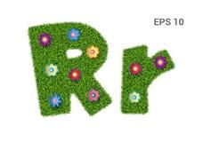Listowy Rr z teksturą trawa i kwiaty ilustracji