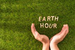 Listowy szczęśliwy ziemskiego dnia pojęcie na zielonej trawie zdjęcia royalty free