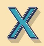 Listowy X teksta Retro Wektorowy styl, chrzcielnicy pojęcie Obrazy Stock