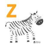 Listowy zoo abecadło Angielszczyzny abc z zwierzę edukaci kartami dla dzieciaka Białego tła Płaskiego projekta Fotografia Stock