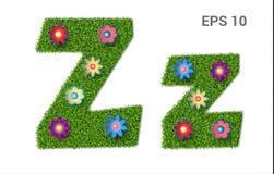Listowy Zz z teksturą trawa i kwiaty ilustracja wektor