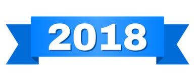 Listra azul com texto 2018 Ilustração do Vetor